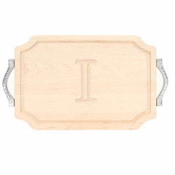 Monogrammed Scalloped Cutting Board With Rope Handles