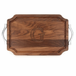 Monogrammed Scalloped Walnut Cutting Board With Rope Handles