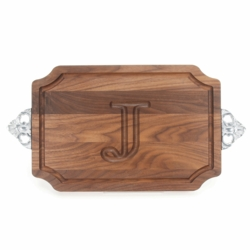 Monogrammed Scalloped Walnut Cutting Board with Scalloped Handles