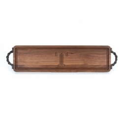 Monogrammed Walnut Bread Board With Twisted Handles