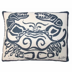 Navy Crab Outdoor Pillow