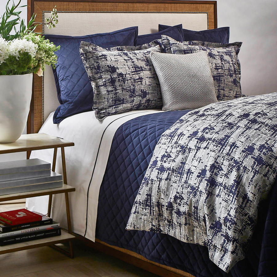 velvet coverlet set in navy