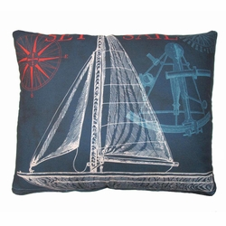Navy Sailboat Outdoor Pillow