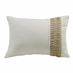 Newport White Linen Pillow With Rouching Trim
