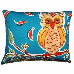 Owl On A Branch Outdoor Pillow