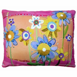 Painterly Flowers Outdoor Pillow