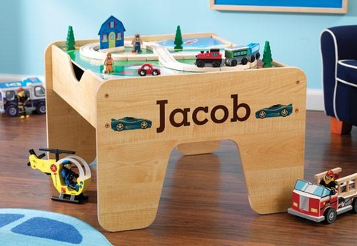 Personalized 2 in 1 Activity Table - Lego Compatible - Trains and ...