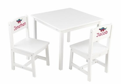 Personalized Aspen Table and Chair Set in White