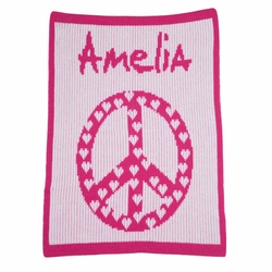 Personalized Peace Hearts Blanket