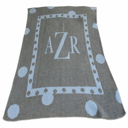 Personalized Blanket with Large Polka Dots and Polka Dots Border