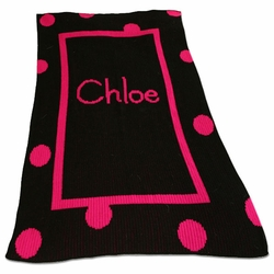 Personalized Blanket with Large Polka Dots and Solid Border