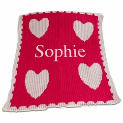 Personalized Blanket with Multiple Hearts and Scalloped Border- Name or Monogram