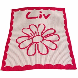 Personalized Flower Blanket with Scalloped Border