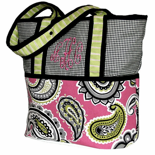 Personalized Pink Whimsy Tote Diaper Bag