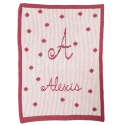 Personalized Polka Dot Blanket with Name and Initial