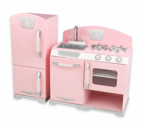 Pink Retro Kidu0027s Kitchen And Refrigerator