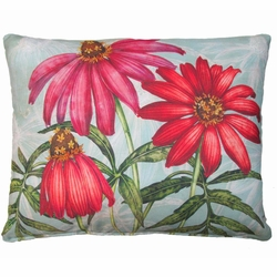 Pink Zinnias Outdoor Pillow