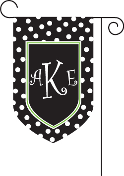 Polka Dot Black Monogrammed Garden Flags