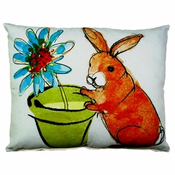 Rabbit and Flower Pot Outdoor Pillow