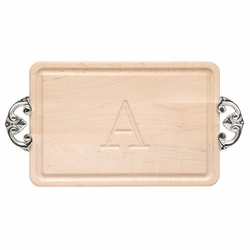 Rectangle Monogrammed Cutting Board With Classic Handles