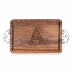 Rectangle Monogrammed Cutting Board With Classic Handles In Walnut