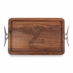Rectangle Monogrammed Cutting Board With Cleat Handles In Walnut
