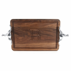 Rectangle Monogrammed Cutting Board With Longhorn Handles In Walnut