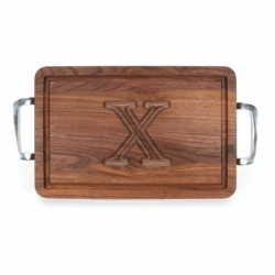 Rectangle Monogrammed Cutting Board With Polished Handles In Walnut