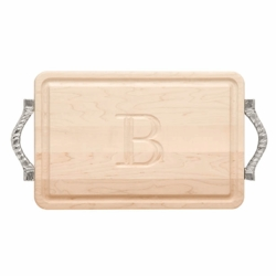 Rectangle Monogrammed Cutting Board With Rope Handles