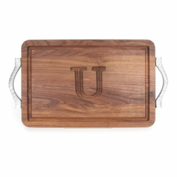 Rectangle Monogrammed Cutting Board With Rope Handles In Walnut