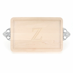 Rectangle Monogrammed Cutting Board with Scalloped Handles