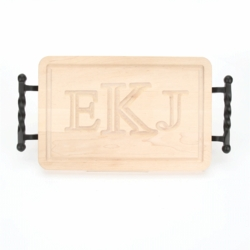 Rectangle Monogrammed Cutting Board With Twisted Ball Handles