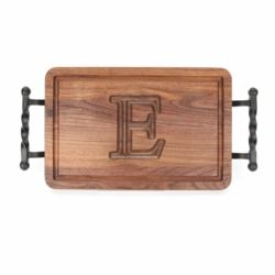 Rectangle Monogrammed Cutting Board With Twisted Ball Handles In Walnut