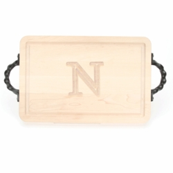Rectangle Monogrammed Cutting Board With Twisted Handles