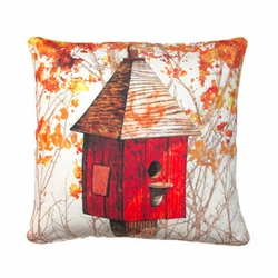 Red Fall Birdhouse Outdoor Pillow