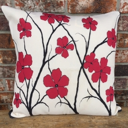 Red Flowers Outdoor Pillow