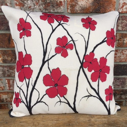 Red Flowers Outdoor Throw Pillow