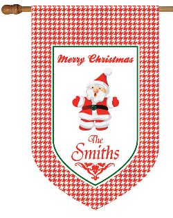 Red Houndtooth Santa Monogrammed House Flag