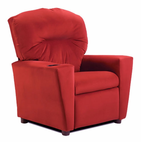 Red Suede Kids Recliner Chair