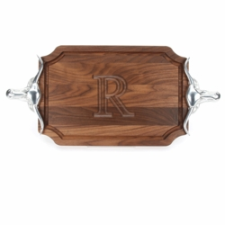 Scalloped Walnut Cutting Board With Longhorn Handles