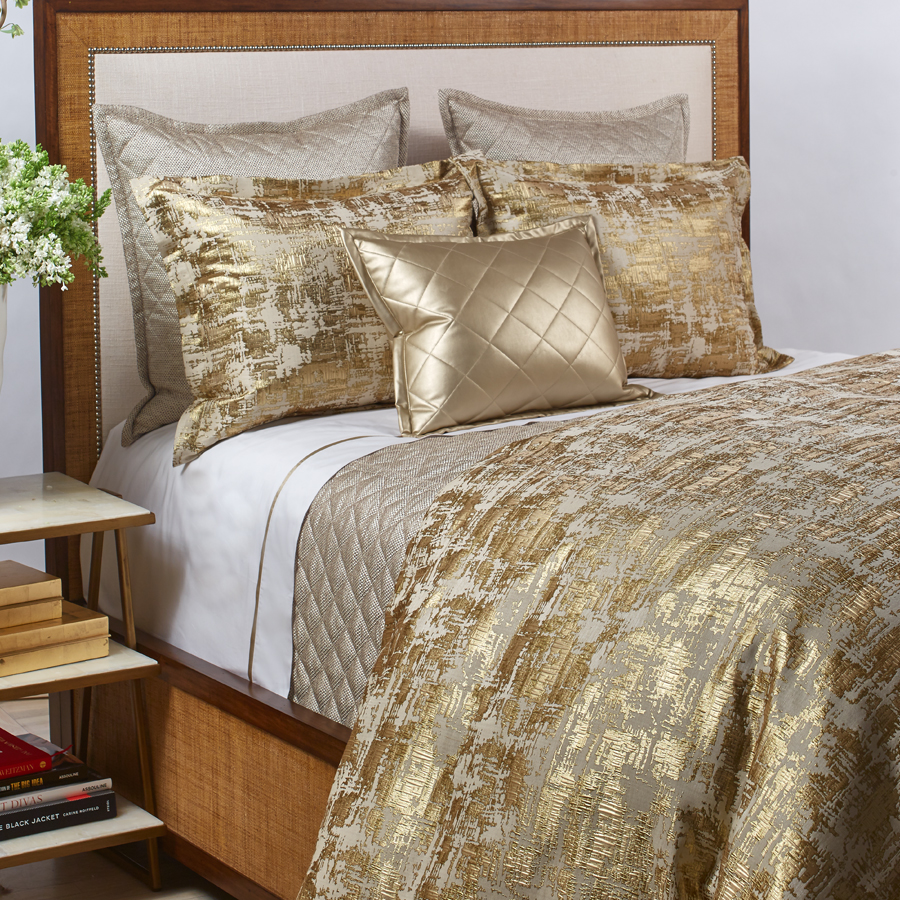 Scratch duvet set in gold by the art of home from ann gish