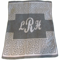 Scroll with Script Monogram Baby Blanket