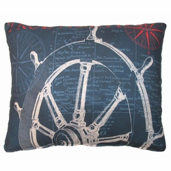 Ships Wheel Outdoor Pillow