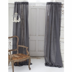 Solid Slate Grey Linen Window Curtain