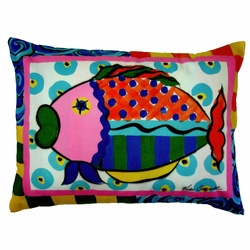 Splish Splash Fish Patio Pillow