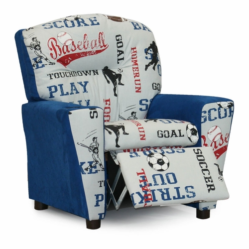 Astounding Sports Blue Suede Kids Recliner Pabps2019 Chair Design Images Pabps2019Com