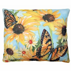 Sunflowers And Butterflies 1 Outdoor Pillow
