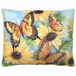 Sunflowers And Butterflies 2 Outdoor Pillow