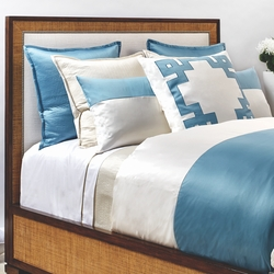Motif Duvet Set in Aegean Blue and Ivory