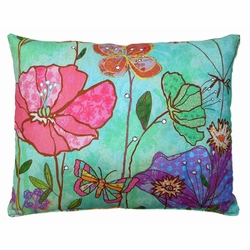 Turquoise Flowers Outdoor Pillow